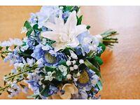 wedding bouquet blue vintage