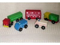 5 Toys / Models of Vintage ELC Wooden Vehicles, Bus, 2 Lorries, Police & Ambulance, Histon