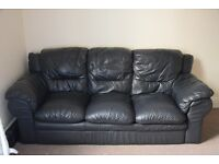 Real black leather 3 seater sofa