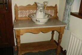 Beautiful Pine Wash Stand With Lovely Marble Top. Well cared for and lovely addition to any room.