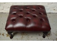 Antique Red Leather Chesterfield Footstool (DELIVERY AVAILABLE)