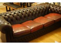 4 seater vintage leather Chesterfield sofa