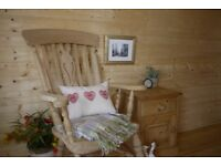 Farmhouse raw pine /beech tall Windsor fiddleback fireside grandad carver chair