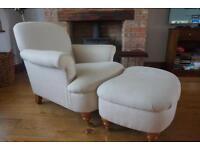 Laura Ashley harbrook armchair and footstool herringbone fabric