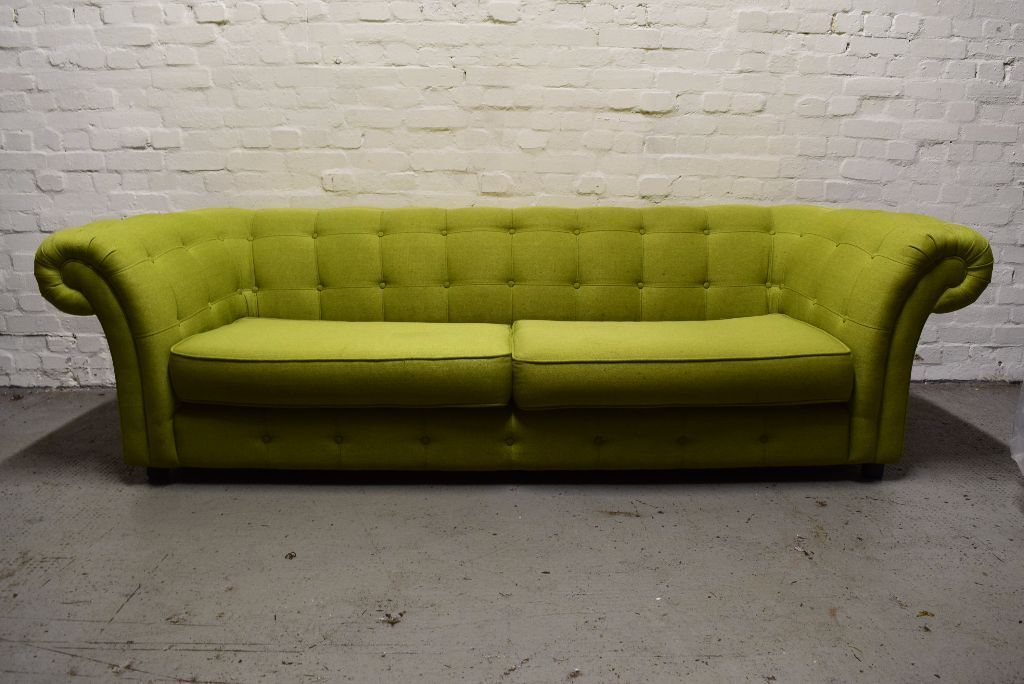 Dfs Lime Green Chesterfield Style Fabric Sofa Delivery Available In West End Glasgow Gumtree