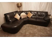 REAL DFS Corner Leather Sofa Luxurious Dark Chocolate Brown Left hand facing 3 yrs old great cond.