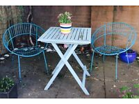 PAIR of Vintage 1960's retro atomic style Turquoise wrought iron circular chair outdoor/indoor