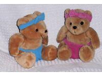 2 Cuddly Toys, Twin Baby Teddies / Teddy Cuddly Toys, 7 inches high sitting, Histon