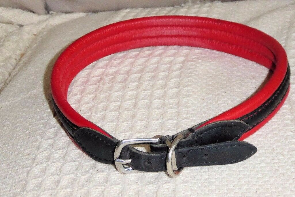 Red and Black Padded LEATHER Dog Collar for Large Dog, neck size 19 - 21 inches, vgc, Histon