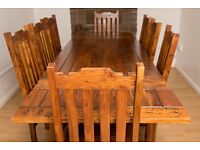 Solid wood refectory table and 8 chairs