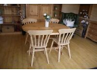 Stripped Farmhouse waxed solid pine oval table and 4 beech slat back chairs