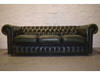 Antique Green Leather Chesterfield Three Seater Sofa With Club Chair (DELIVERY AVAILABLE)