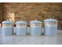Vintage French Enamel Canisters, a set of 4 pieces, Kitchenalia
