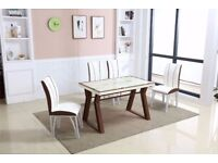 White/Brown Glass Top Table and Dining 4x Chairs Chrome Leather Kitchen Room Set