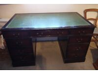 Vintage Victorian-Style Leather Top Mahogany Writing Desk