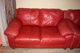 Lovely Red leather Suite 3 + 2 DFS (can deliver)