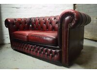 Antique Red Chesterfield Two Seater Sofa (DELIVERY AVAILABLE)