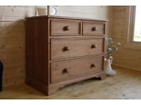 Solid farmhouse rustic waxed pine chest of 2 over 2 drawers with dovetail joints