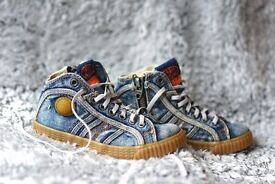 DIESEL designer kids high top trainers, size EUR 28, UK 10, (sole 19cm), very good used condition