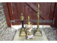 3 vintage table lamps