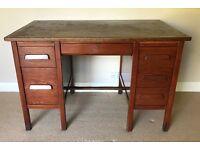 Vintage Retro 1940/50's 6 Drawer Abbess Style Solid Oak Twin Pedestal Desk