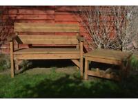 Handmade Garden Bench And Table Set