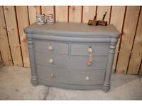 Antique Bow-Front Scotch drawer chest - Painted Annie Sloan warm grey chalk paint / waxed - Carlisle