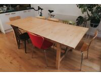 Large sturdy and extendable solid wood dining table