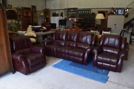 Clean and smart 3+1+1 suite in dark chestnut tan leather - could be Italian - fully reclining