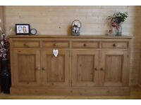 Solid pine farmhouse rustic sideboard, dresser, freestanding kitchen cupboard.