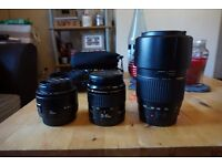 Canon camera lens for sale 50mm prime 35-80mm and 70-300 tamron