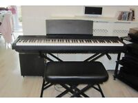 Yamaha P105 PK Digital Piano black with bench, stand, warranty left 14 months