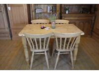 farmhouse rustic solid waxed pine table and 4 slat back chairs kitchen dining