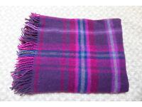 Warm, wool burgundy plaid blanket