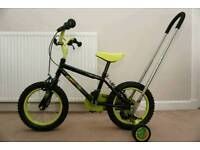 """Apollo Claws 14"""" wheels kids bike with stabilisers and assist/balance handle"""