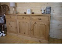 Rustic solid waxed pine wood sideboard dresser cupboard cabinet chest Unit