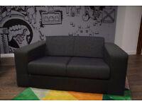 Compact 2 Seater Fabric Sofa - Charcoal / Dark Grey