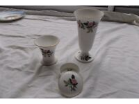 Wedgewood 'Hathaway Rose' 2 vases and a trinket box