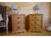 Farmhouse rustic solid waxed pine wood pair bedside tables chest of 3 drawers