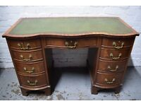 Twin Pedestal Desk With Leather Insert (DELIVERY AVAILABLE)