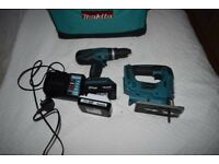 MAKITA HP 457D DRILL AND JIGSAW JV183D 2 battery's charger