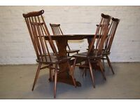 Ercol plank refectory table with 6 chairs (DELIVERY AVAILABLE)