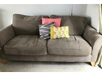Pair of contemporary taupe grey 3 seater sofas
