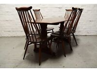 Ercol Plank refectory table with 6 Goldsmith chairs (DELIVERY AVAILABLE)