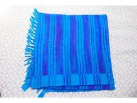 Bright blue wool blanket