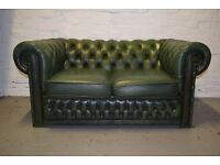 Antique Green chesterfield two seater sofa (DELIVERY AVAILABLE)