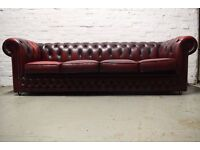 Antique red Chesterfield 4 seater sofa (DELIVERY AVAILABLE)