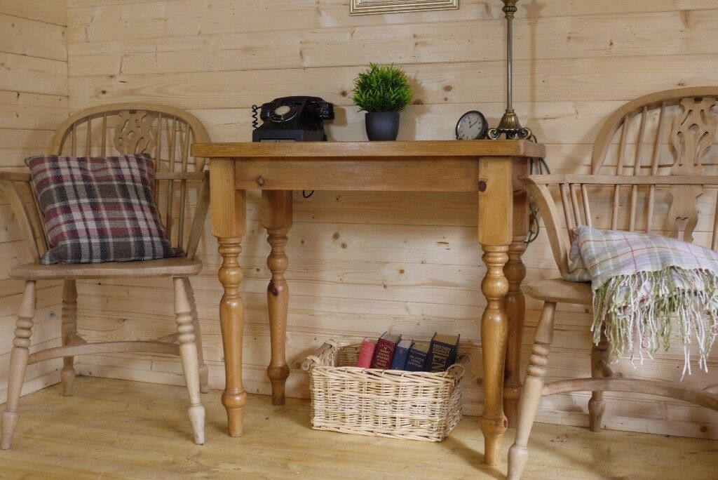 Farmhouse rustic solid waxed pine console table sideboard side hall lamp table