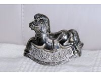 Polished Metal Money Box / Toy Ornament in the shape of a Rocking Horse, 4 inches high, Histon