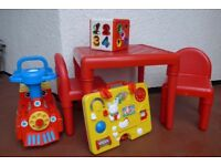 Children's high chair, table & 2 chairs, baby walker, rocking chair, play kitchen & toys